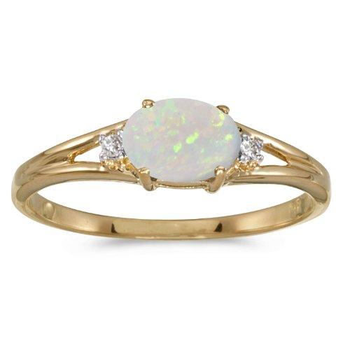 0.21 Carat ctw 14k Gold Oval White Opal & Diamond Accent 3 Three Split Shank Promise Fashion Ring
