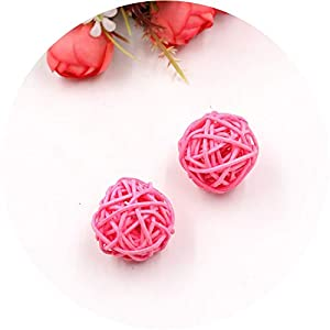 be-my-guest 5/10Pcs 3cm Colorful Rattan Ball Artificial Flowers Ball Christmas New Year Party Decoration Children Gifts DIY Craft Supplies,Pink,5Pcs 109