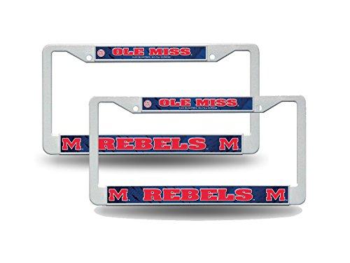 (Ole Miss Rebels NCAA Raised Letter White Plastic License Plate Frame)