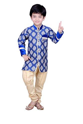 Boys Sherwani Kurta Pyjama Kids Wear by Arshia Fashions - 2 - 7 Years - Full Sleeves - Party Wear - Blue Beige