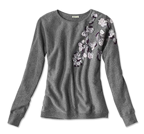 - Orvis Women's Embroidered Cashmere Sweater, X Large Gray