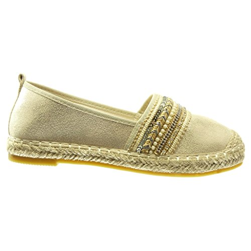 Scarpe Cm Espadrillas Gioielli Donna Lucide briglia Angkorly Oro 5 Tacco 2 on Multi Piatto Moda Slip adwE6Hq
