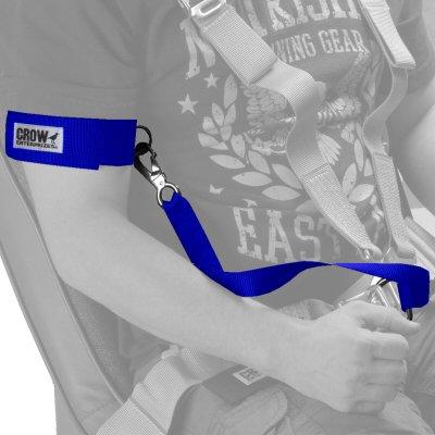 Crow Enterprises Junior 2 Inch Blue Safety Arm Restraints Clips Into Standard Quick Release Belt