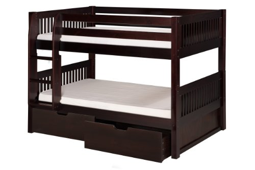 Camaflexi Mission Style Solid Wood Low Bunk Bed with Drawers, Twin-Over-Twin, Side Attached Ladder, Cappuccino