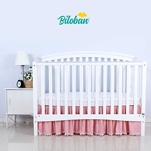 Skirt Crib Dust Ruffle - Pink Crib Skirt Pleated with White Lovely Pompoms, Bedding Dust Ruffle for Baby Girls, 14