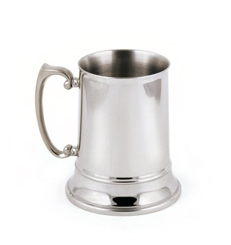 Brilliant Double-Walled Stainless Steel Large (16 Oz.) Beer Mug - Fine StainlessLUX Barware for Your Enjoyment - Engraved Stainless Steel Tankard