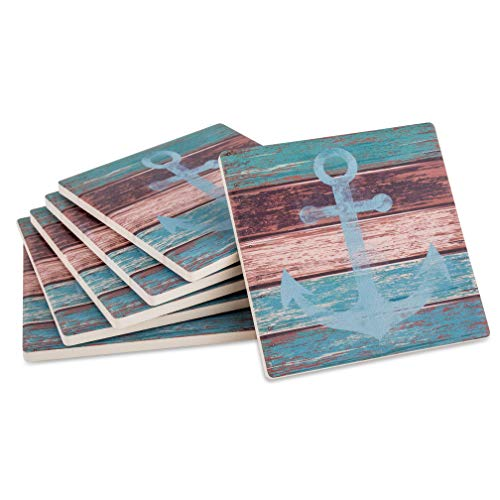 Absorbent Ceramic Stone Coasters for Drinks: Nautical Beach Theme Drink Coaster Set with Cork Back - Beach Decorations for Home, House Ocean Decor, Set of 6, Protect Tables from Water and Scratches