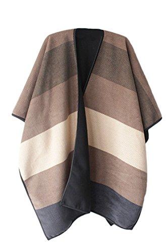 VamJump Women Winter Cashmere Oversized Blanket Poncho Cape Shawl Cardigan Coat, Coffee, onesize