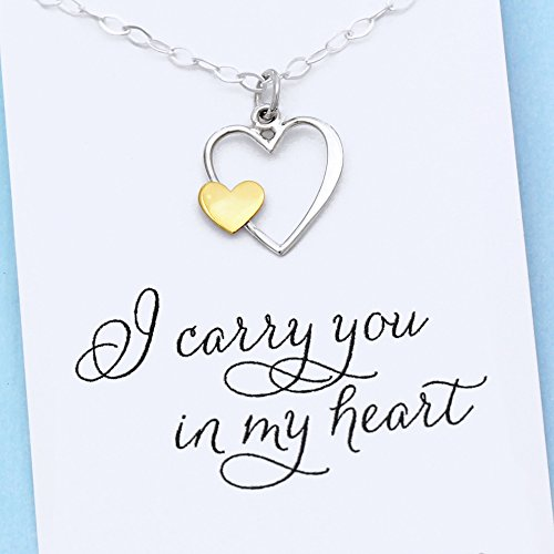 - I Carry Your Heart in Mine • Remembrance Necklace • Sterling Silver & Gold Charm • Custom Keepsake Jewelry