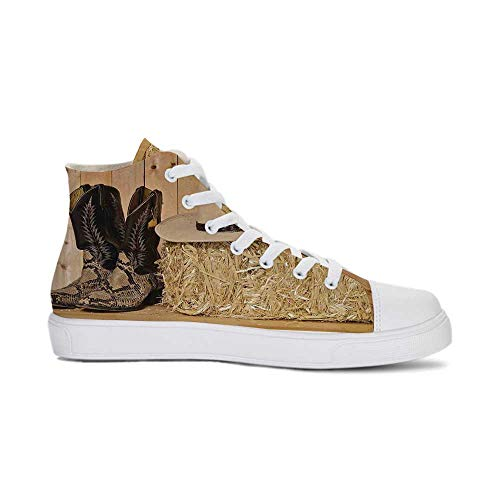 Western Decor Durable High Top Canvas Shoes,Snake Skin Cowboy Boots Timber Planks in Barn with Hay Old West Austin Texas for Men,US 12.5 (Best Cowboy Boots In Austin Texas)