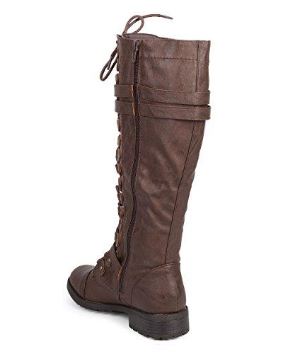 Damen Kniehohe Reitstiefel Schnürsenkel Schnallen Winter Combat Boots Braun