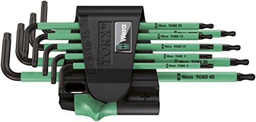 Wera 967 SPKL/9 TORX BO Tamper-Resistant Ergonomic Key Set with Two-Component Storage Clip, 9-Piece Bo Component