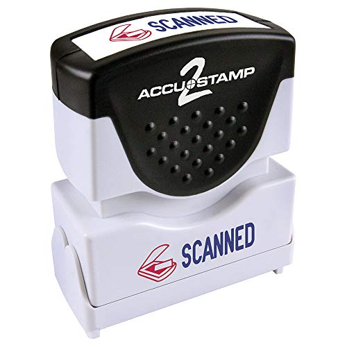 """ACCU-STAMP2 Message Stamp with Shutter, 2-Color, SCANNED, 1-5/8"""" x 1/2"""" Impression, Pre-Ink, Blue and Red Ink (035606)"""