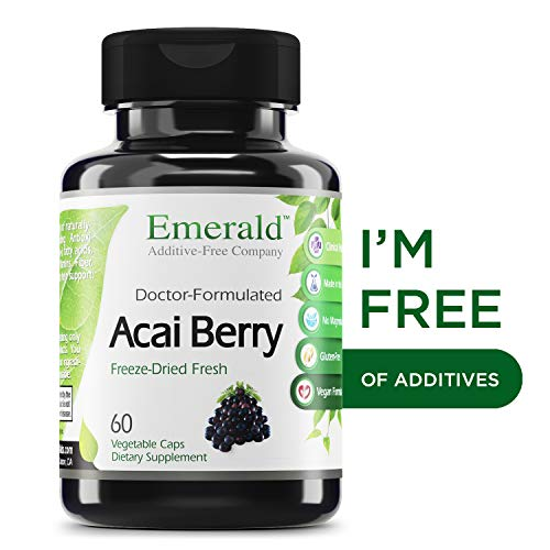 Acai Freeze-Dried Fresh - Increase Energy and Vitality - Supports Healthy Digestion, Energy Boost, Fat Burning, Mental Alertness - Emerald Laboratories (Fruitrients) - 60 Vegetable Capsules