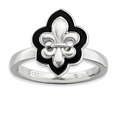 925 Sterling Silver Enameled Fleur De Lis Band Ring Size 5.00 Stackable Fine Jewelry Gifts For Women For Her