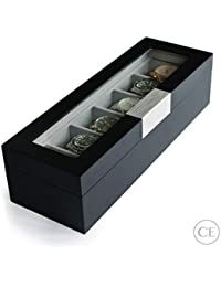 Modern 6-Slot Wooden Watch Box with Metal Clip and Real Glass Black