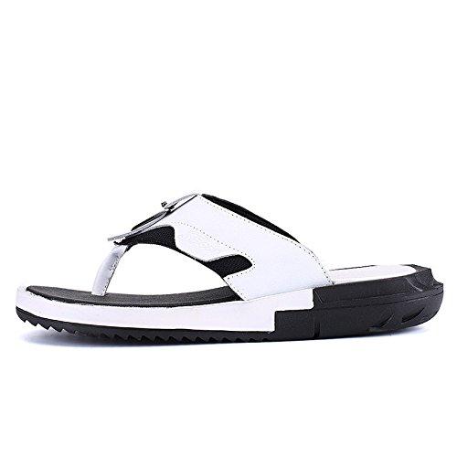 estate Uomini scarpa Uomini Tempo libero sandali vera pelle Confortevole Spiaggia scarpa moda infradito sandali ,bianca,US=9,UK=8.5,EU=42 2/3,CN=44