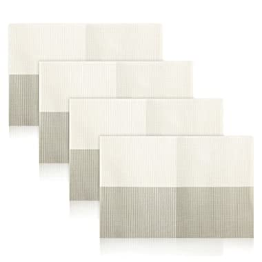 Non-slip Insulation Placemat,Moore Crossweave Woven Vinyl Non-slip Insulation Placemat Washable Table Mats Set of 4 (Grey-White)