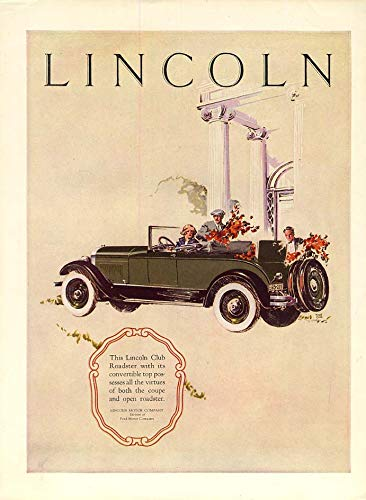 The virtues of coupe & open roadster Lincoln Club Roadster ad 1926 HB