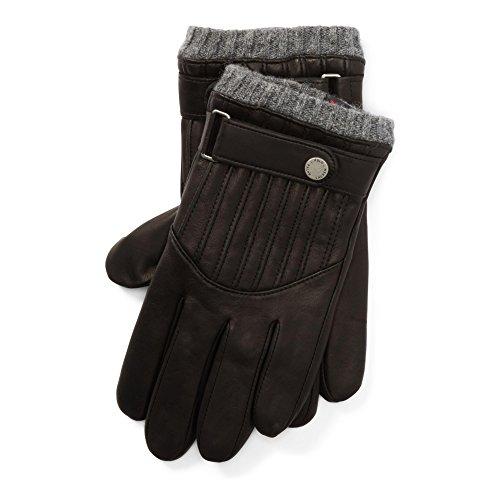(Polo Ralph Lauren Men`s Quilted Leather Racing Gloves (RL Black (0039663653) / Grey, Medium))