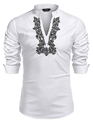 Hippie Wedding - COOFANDY Men's Slim Fit Hippie Shirt Long Sleeve Floral Print Casual Zip Up Cotton Beach Party Henley T Shirt (White(Floral Embroidery), Medium)