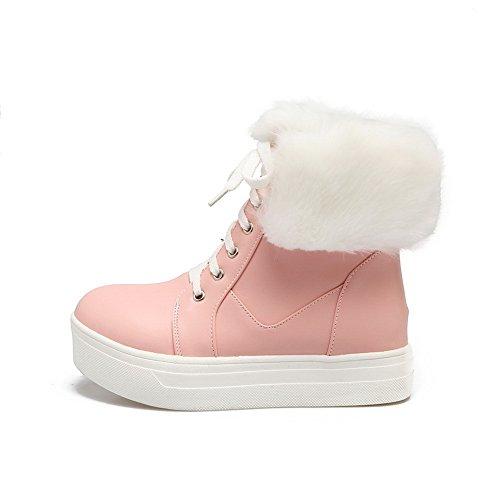 Leather nbsp;Lining Platform Womens nbsp; Fur Boots Pink Velvet SXC02667 Collar Bandage AdeeSu x64EAYn8A