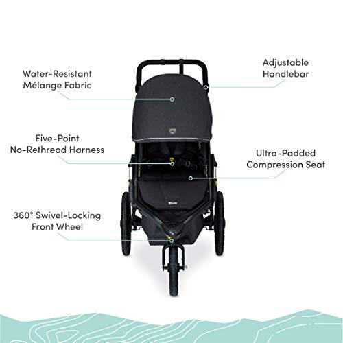 41iNhrWF4pL - BOB Gear Alterrain Jogging Stroller | Quick Fold + Adjustable Handlebar + XL UPF 50+ Canopy, Melange Black