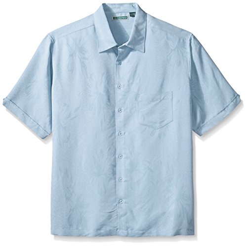 Jacquard Cashmere - Cubavera Men's Big and Tall Floral Jacquard Woven Shirt, Cashmere Blue, 4X