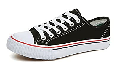 Amint Low-Cut Canvas Shoes Unisex Fashion Sneaker Lace Ups Sports Shoes Casual Trainers for Men and Women Black-01 5.5US-225mm-35EU