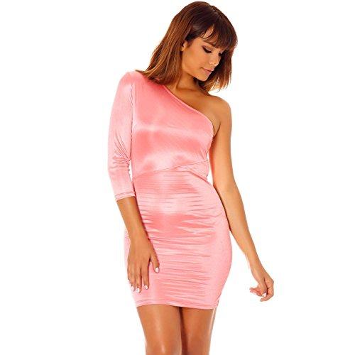 Miss Wear Line Damen One-Shoulder Kleid Rosa Rosé