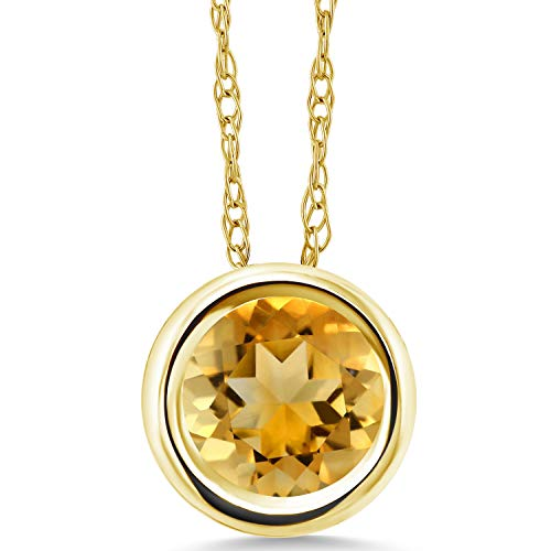 Gem Stone King 0.70 Ct Round Yellow Citrine 14K Yellow Gold Pendant With Chain