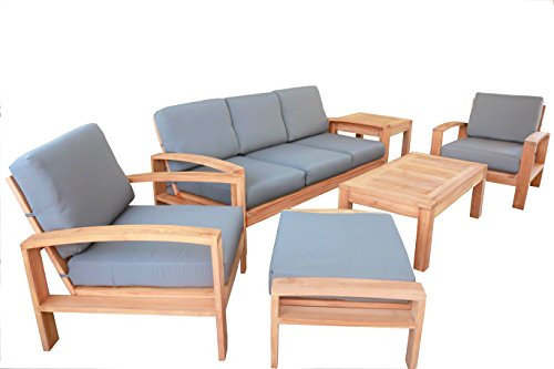 6 PC A Grade Outdoor Patio Teak Sofa Set - 3-Seater Sofa, 2 Deep Seating Club Chairs, 1 Side Table, 1 Rectangle Coffee Table And 1 Ottoman-Furniture Only - Cadras Collection Furniture Madera Collection