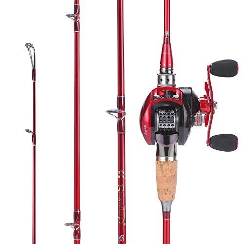 Sougayilang Baitcasting Fishing Rod with Reel Combos, Medium Power Portable Carbon Travel Fishing Pole,4Piece… … from Sougayilang