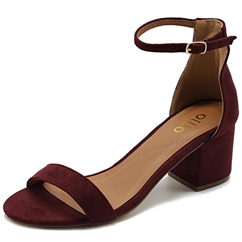 Ollio Womens Shoe Faux Suede Chunky Mid Heel Ankle Strap Heeled Sandals MG34 (8 B(M) US, Burgundy) -