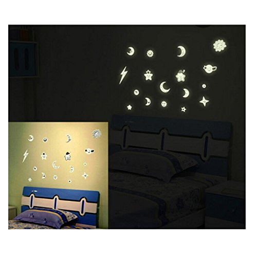 GBSELL Star Moon Luminous Stickers Living Room Bedroom Decoration Wall Stickers (B)