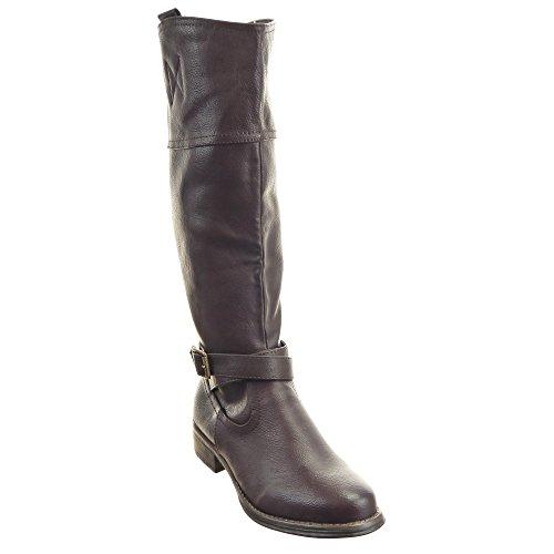 Sopily - damen Mode Schuhe Stiefel Oberschenkel-Boot Reitstiefel - Kavalier Schleife metallisch Schuhabsatz Blockabsatz - Braun