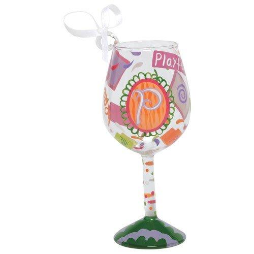 Santa Barbara Design Studio Lolita Holiday Mini-Wine Ornament, Letter P