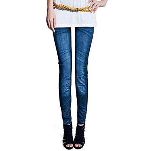 Sanwood – Vaqueros ajustados para mujer, color azul, talla única