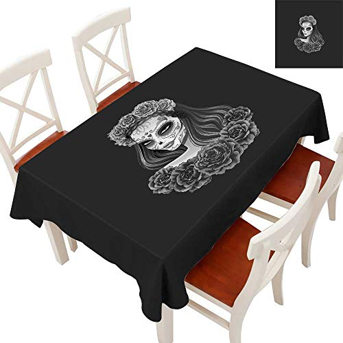 Anyangeight Day of The Dead Flow Spillproof Fabric Tablecloth Gothic Young Girl in Calavera Make Up Hairstyle with Roses Tablecloth Thick Original RestaurantCharcoal Grey Pale Grey 60