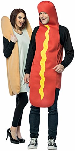 Rasta Imposta Hot Dog and Bun Couples Costume, Packaged Together -