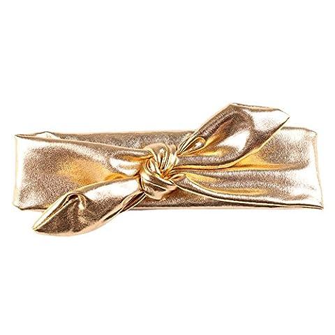 Qingsun Baby Girls Metallic Messy Bow Hairband Bronzing Elasticity Headband Cotton Cloth Turban Knotted Baby kids Hair Bow - Metallic Knot