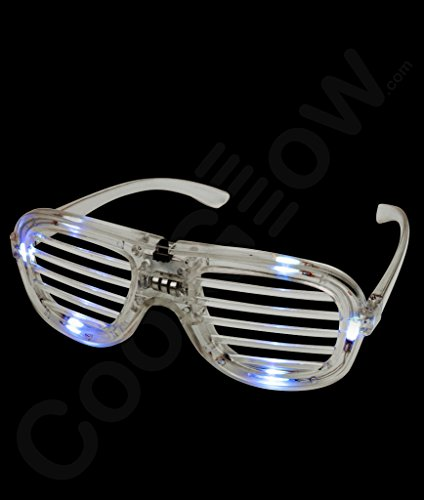 Light Up Flashing Rock Star Shutter Shade Glasses - 9 Colors Available! Tons of Fun for That Party! -