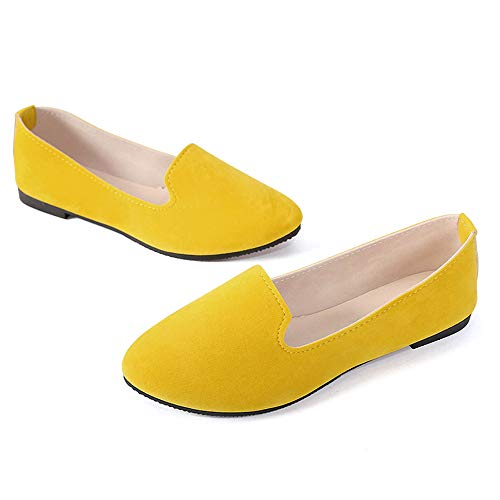 (Stunner Women's Cute Round-Toe Flat Ballet Shoes Comfortable Dress Shoes Yellow 38(6.5))
