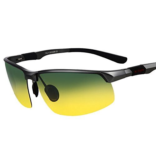 Vision Splitter - Men's Polarized Sunglasses/Day and night shades/Sport driving special mirrors/Driving splitter/night vision goggles-D