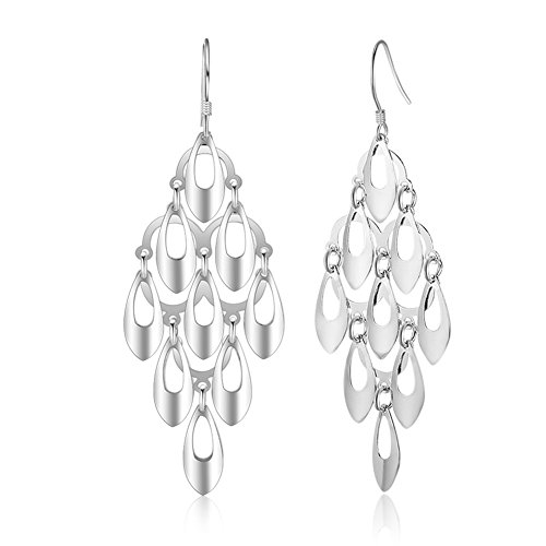 Dangling Chandelier Earrings (IDoy 925 Sterling Silver Hook Large Diamond-Shape Chandelier Tiered Drop Earrings for Women)