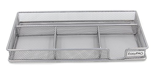 EasyPAG Mesh Collection Desk Drawer Accessories Organizer,11.5 x 6.25 x 1.25 inch Silver (Mesh Drawer Organizer Silver)