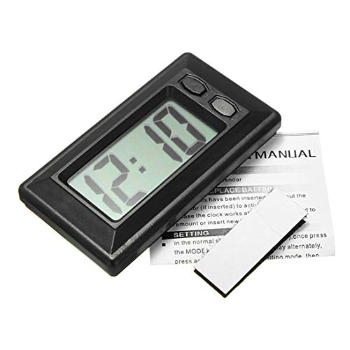 (Baynne Ultra-Thin LCD Digital Display Car Vehicle Dashboard Clock with Calendar(Color:Black))