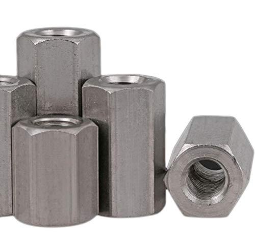 5pcs M8 x 1.25 x 40mm Stainless steel Long Coupling Hex Nut Connector ()