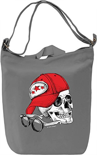 Skull with Cap Borsa Giornaliera Canvas Canvas Day Bag| 100% Premium Cotton Canvas| DTG Printing|
