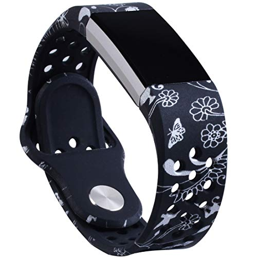 Allbingo Cute Bands Compatible Fitbit Charge 2, Breathable Floral Strap Women Men Replacement Sport Wrist Band Small Large with Air Holes (Dancing Life, Large)